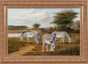 Ray Jacob American 20th Century Grazing Zebras
