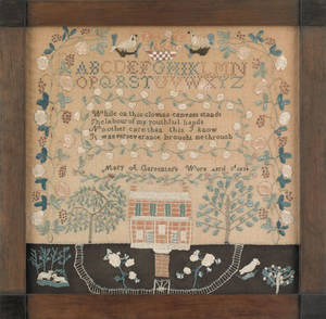 Lancaster County Pennsylvania silk on linen needlework sampler dated 1834