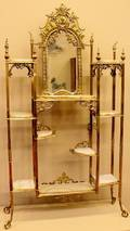 Late 19th C Victorian Onyx and Brass Etagere
