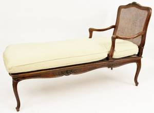 Louis XVI Style Caned  Upholstered Chaise Lounge