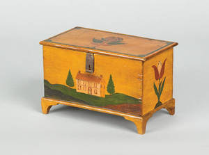 Jonas Weber Lancaster County Pennsylvania 18101876 painted pine trinket box ca 1850