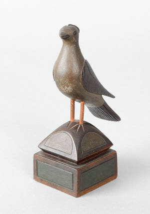 DecoTex carved and painted maple song bird on a pedestal late 19th c