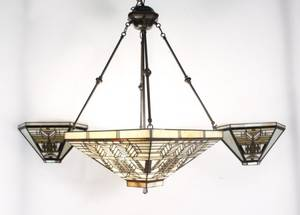 Mission Style Slag Glass Chandelier wWall Mounts