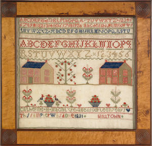 Pennsylvania wool on linen needlework sampler wrought by