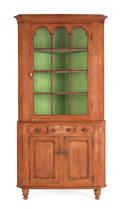 Pennsylvania possibly Montgomery County painted twopiece corner cupboard ca 1830