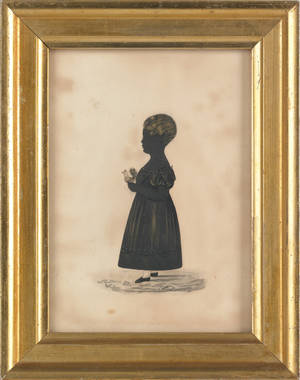 Philadelphia silhouette of a young girl holding a rooster late 19th c