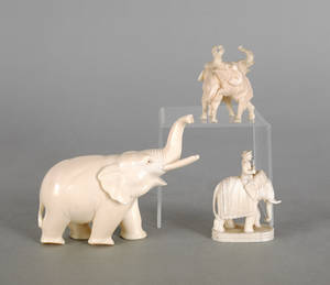 Three Chinese carved ivory elephants ca 1900