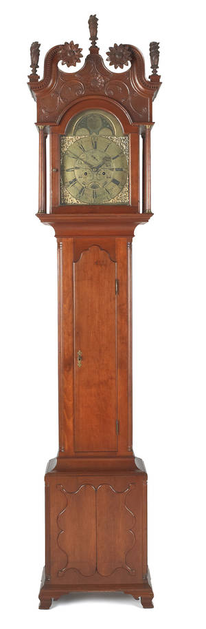 Pennsylvania Chippendale cherry tall case clock late 18th c