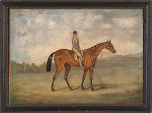 British oil on canvas portrait of a horse and jockey earlymid 19th c