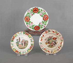 Set of six English pearlware plates early 19th c