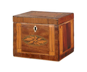George III inlaid mahogany tea caddy ca 1770