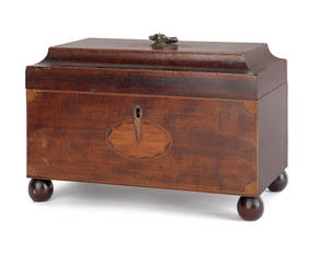 George III mahogany tea caddy late 18th c