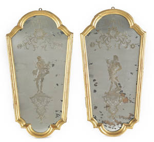 Pair of Italian giltwood mirrors mid 18th c