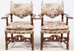 CARVED WALNUT UPHOLSTERED ARM CHAIRS PAIR