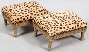 LOUIS XVI STYLE CARVED WALNUT FOOT STOOLS PAIR