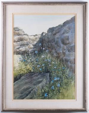 Ray Ellis Chickory Landscape Watercolor Framed