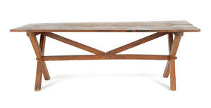 New England pine sawbuck table 19th c