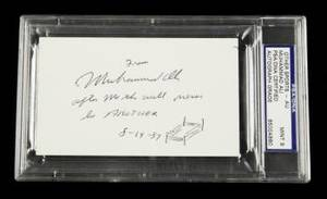 MUHAMMAD ALI 1987 SIGNED AND INSCRIBED INDEX CARD PSA 9