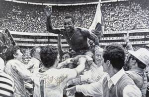 PEL SIGNED 1970 WORLD CUP FINAL CELEBRATION ORIGINAL OIL PAINTING