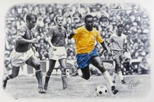 PEL SIGNED IN ACTION AT THE 1970 WORLD CUP FINAL ORIGINAL OIL PAINTING