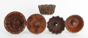 Five Pennsylvania redware molds 19th c