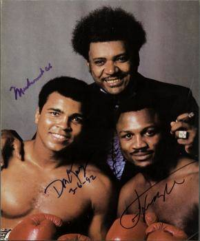 MUHAMMAD ALI JOE FRAZIER DON KING SIGNED PHOTOGRAPH