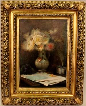 French School Still Life Painting with Flowers