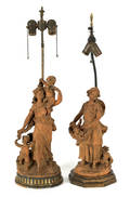 Pair of French terra cotta figural table lamps late 19th c