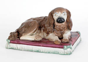 Large Staffordshire figure of a King Charles spaniel 19th c