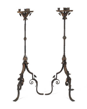 Pair of iron and brass torchieres