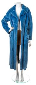 An Unlabeled Blue Sheared Mink Coat