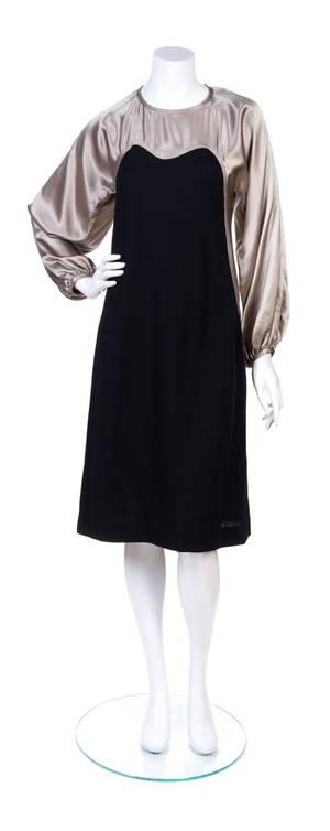 A Geoffrey Beene Metallic Silver and Black Wool Cocktail Dress