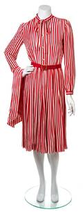 A Chanel Creations Red and White Striped Shirt Dress