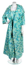An Arnold Scassi Blue and Green Floral Evening Ensemble