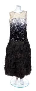 An Yves Saint Laurent Haute Couture Sequin and Ostrich Feather Gown