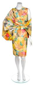 A Pepe Fernandez Multicolor Taffeta Cocktail Dress