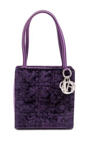 A Christian Dior Purple Velvet Lady Dior Handbag
