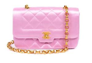 A Chanel Pink Quilted Satin Flap Handbag