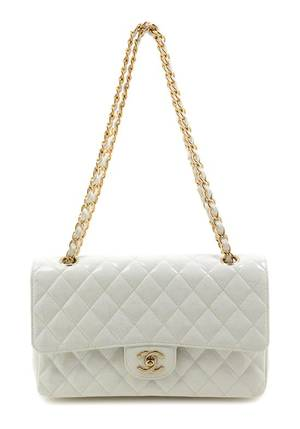 A Chanel White Patent Quilted Double Flap Handbag