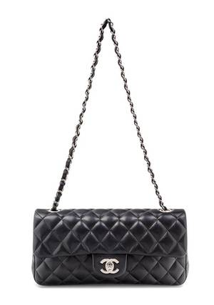 A Chanel Black Quilted Single Flap Handbag