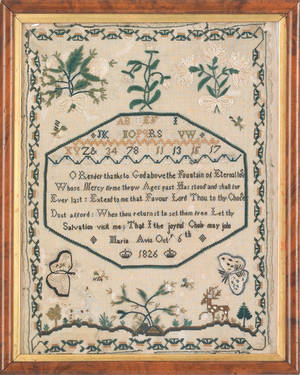 Silk on linen sampler dated 1826 wrought by Maria Aris