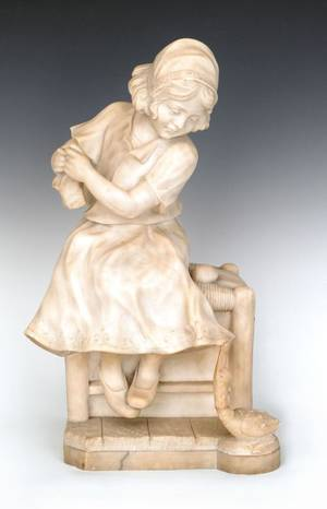 Carved marble statue of a young girl and a duck late 19th c