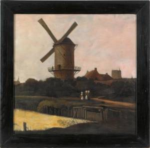 Dutch oil on canvas landscape late 19th c
