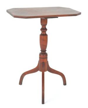 New England Federal maple and birch candlestand ca 1810