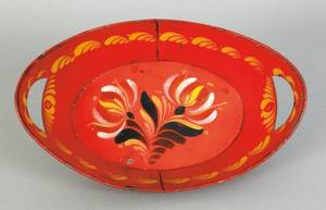 Vibrant red tole bread tray 19th c