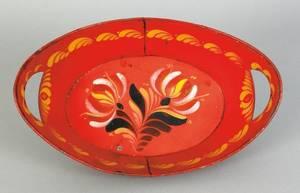 Vibrant red tole bread tray 19th c