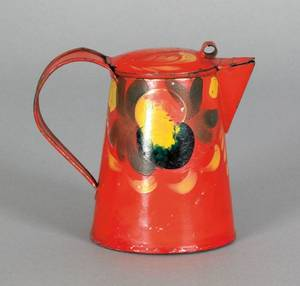 Red tole syrup pitcher 19th c