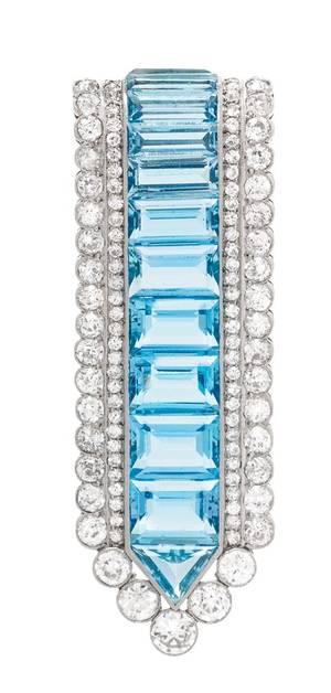 A Platinum Diamond and Aquamarine Brooch Cartier