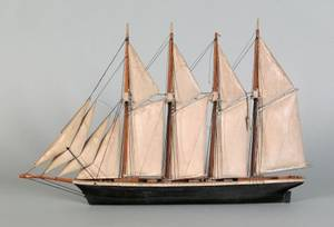 Carved and painted ship model 19th c