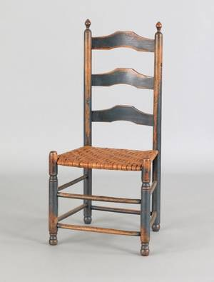 Delaware Valley threeslat ladderback side chair ca 1800